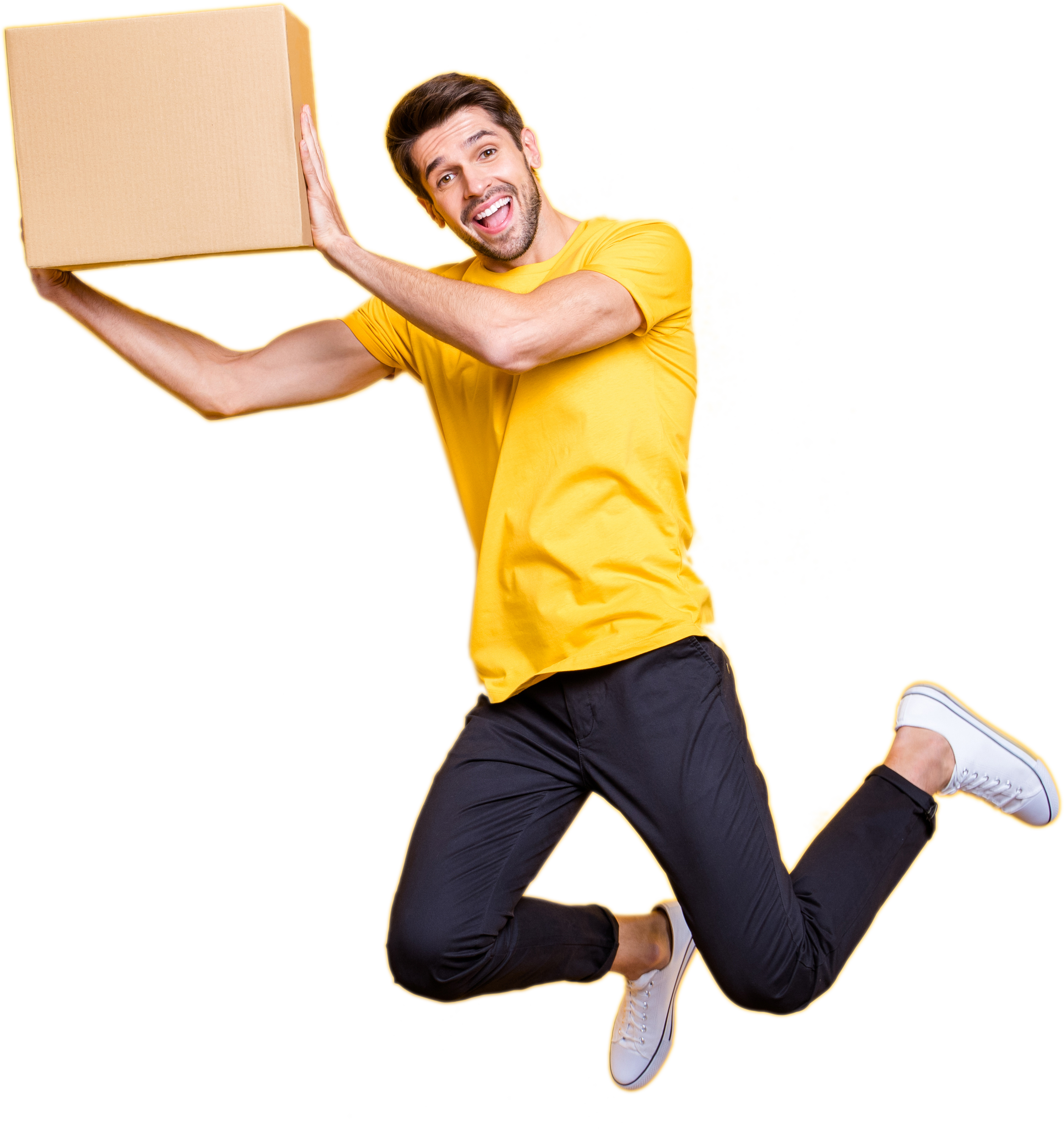Happy man with shipping box.